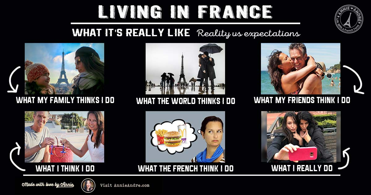 What it's really like: Expectations vs reality meme about living in France