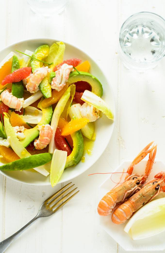 avocado, prawn, and citrus salad