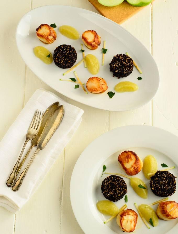 saute scallops and black pudding
