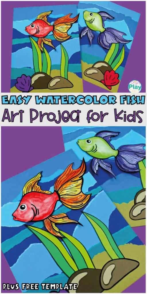 watercolor fish art project for kids