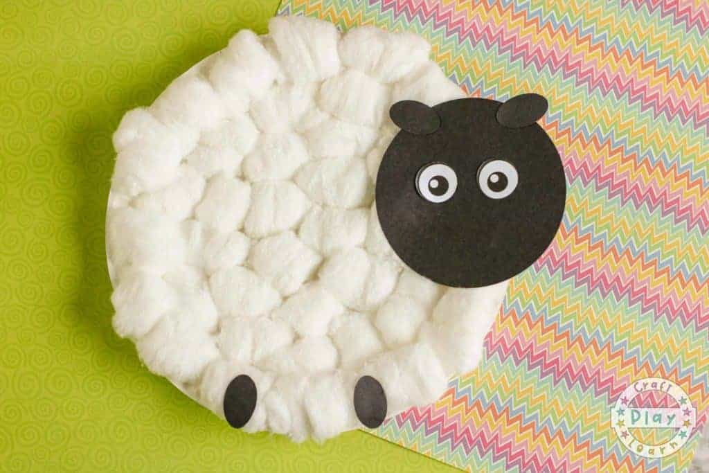 how to make a paper plate sheep with cotton wool balls