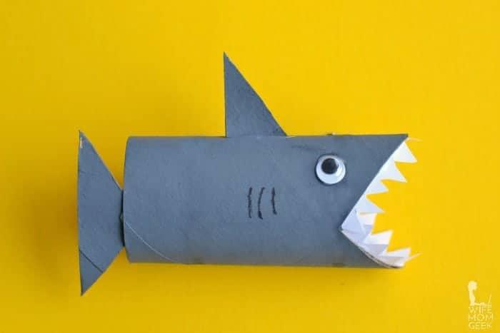 toilet roll shark craft