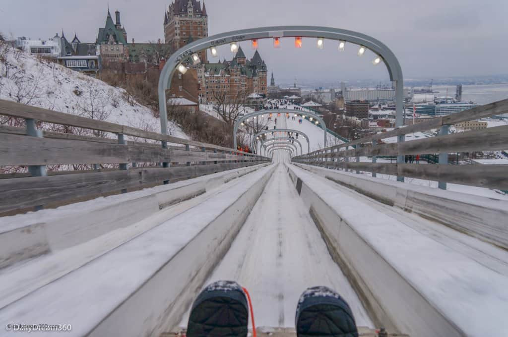 Heading down the Quebec City Toboggan Ride