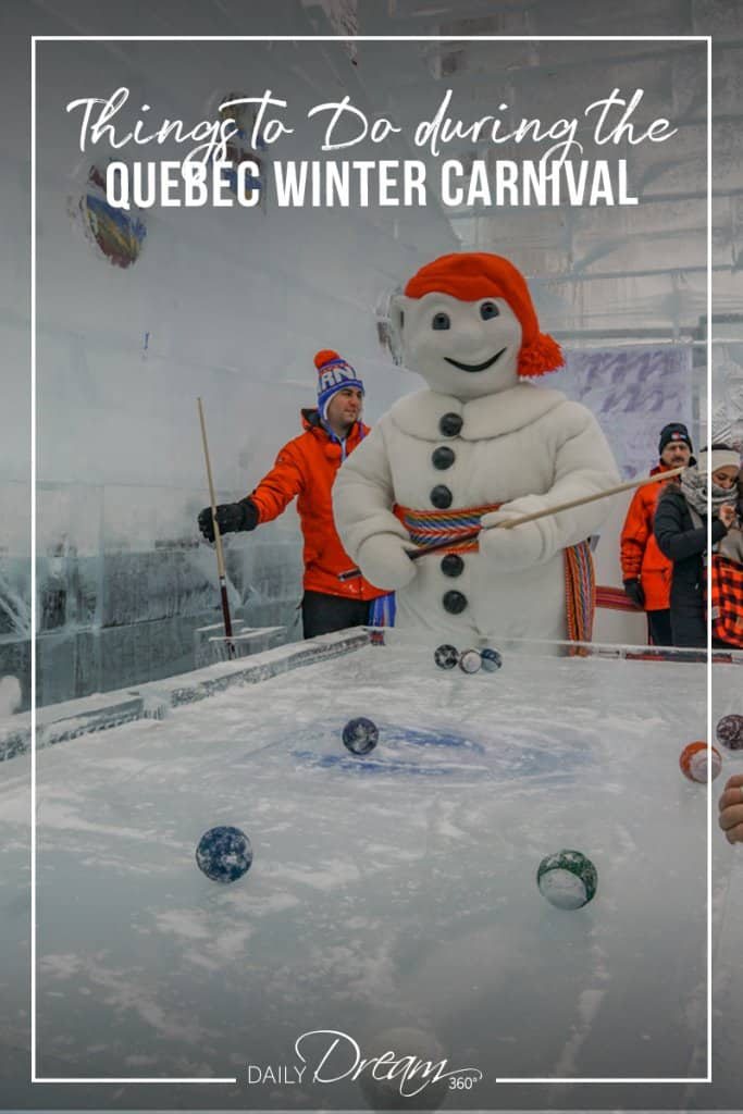 Bonhomme Carnival plays pool on an Ice table during Quebec Winter Carnival
