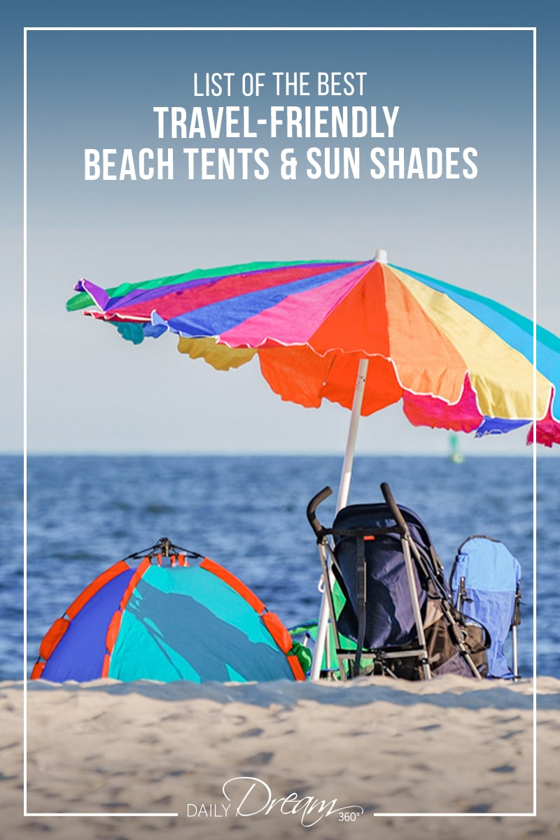 Travel-friendly beach shade and umbrella with stroller sitting in front of water on beach