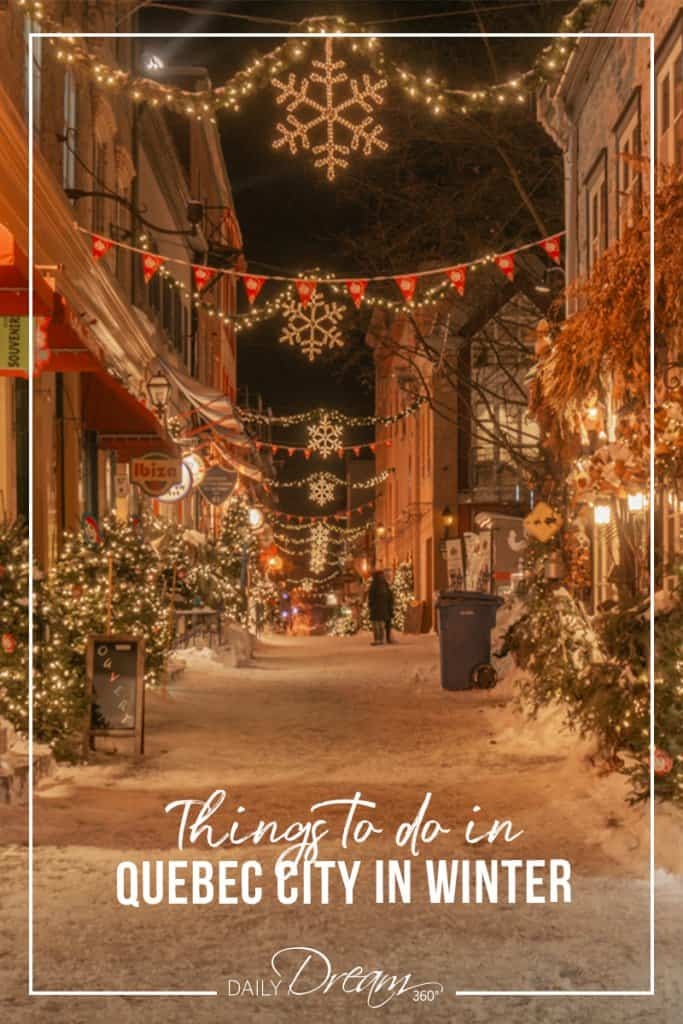Petit Champlain district lit up at night things to do in Quebec City in Winter