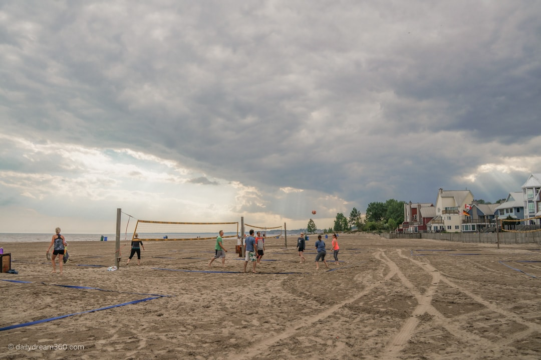 People playing volleyball on Port Stanley Beach