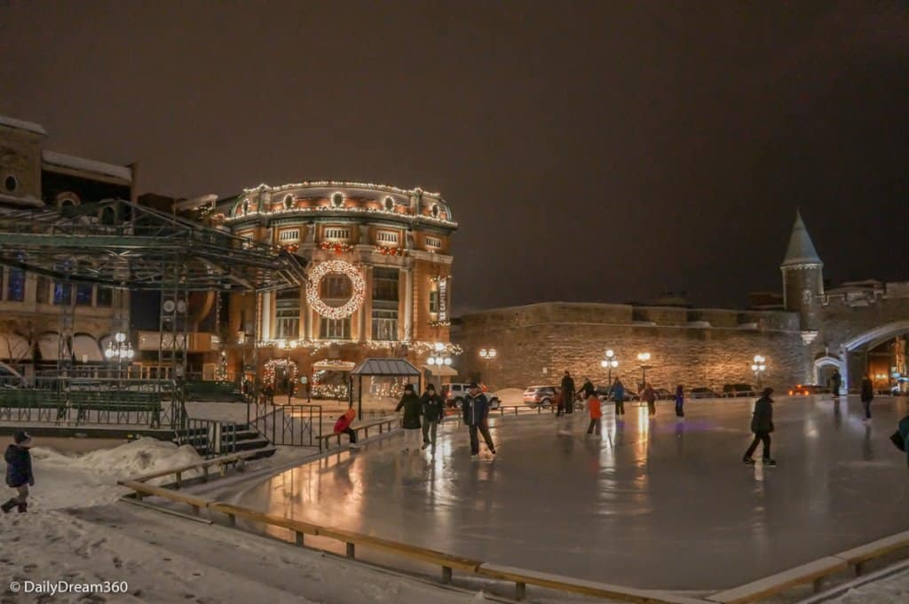 Ice rink inside the old city in Quebec City