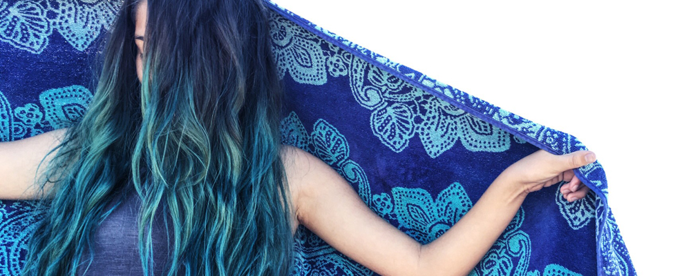 Woman with blue ombre hair