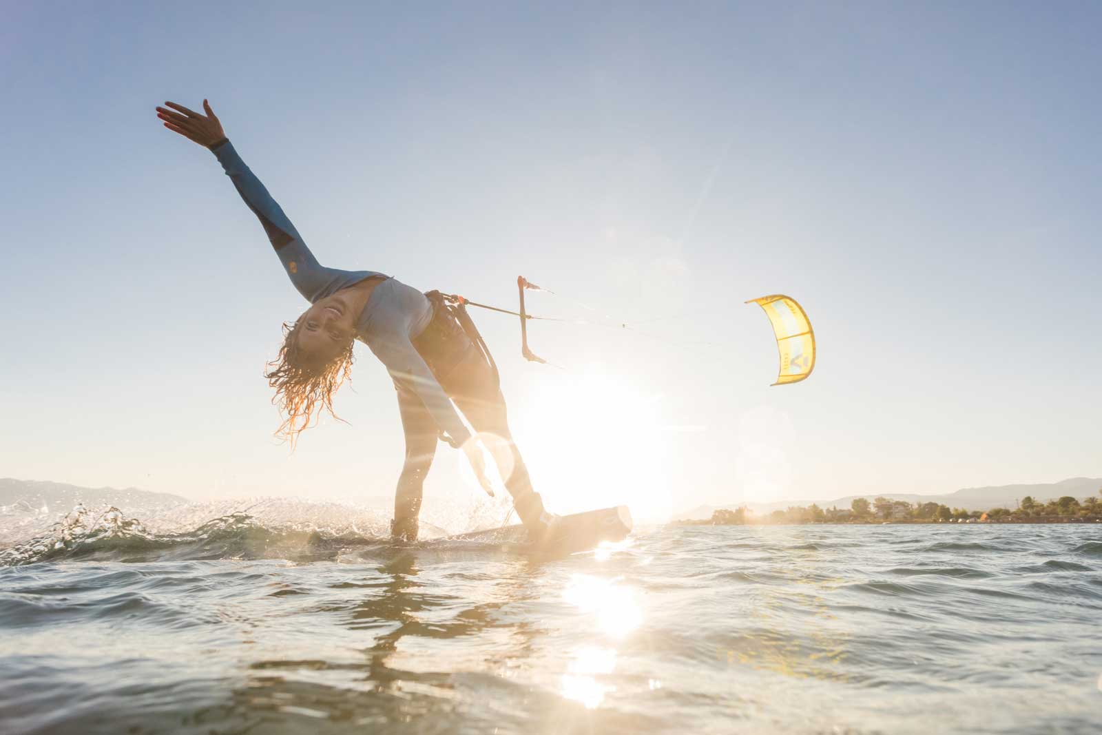 Paula Novotna in ION CLUB Limnos for a kitesurf session coatching