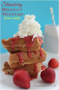 Strawberry Belgian Waffles from Scratch