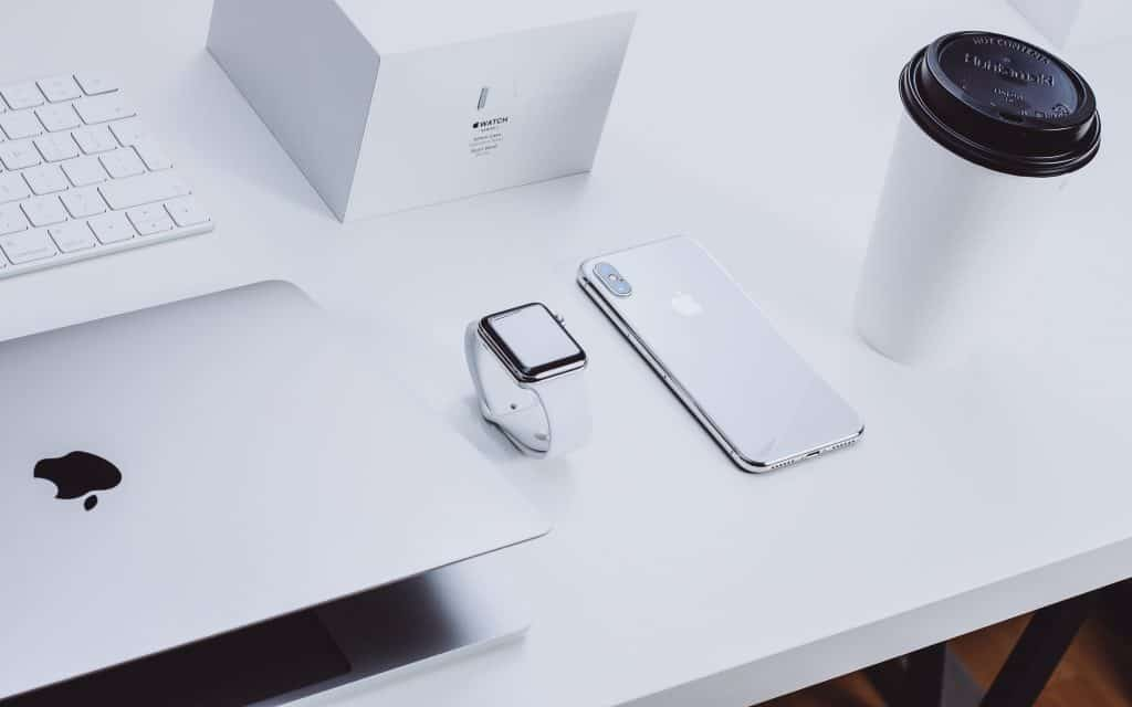 Apple products on table