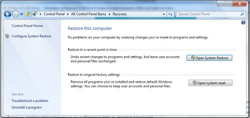 windows 8 system reset
