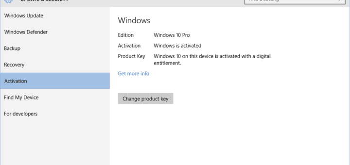 After Successful Windows 10 Pro Activation
