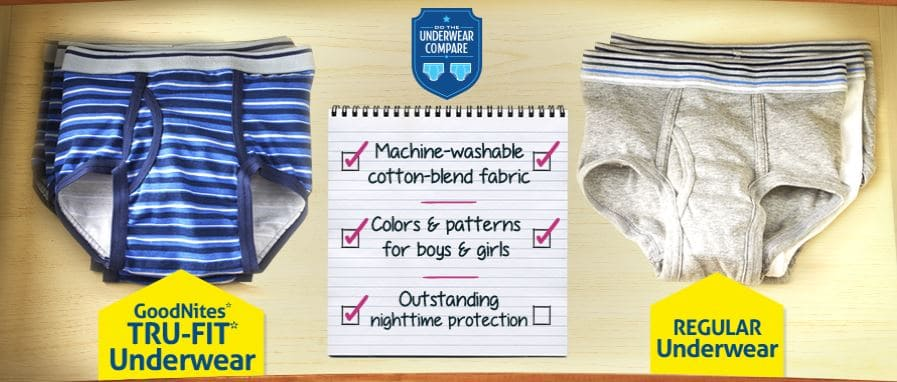 GoodNites* TRU-FIT* Underwear Helps Stop Bedwetting from Undermining Self-Confidence