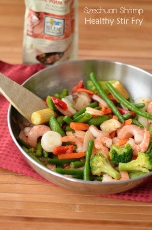 Get back on track and stick to your healthy eating goals with this delicious Szechuan Shrimp Healthy Stir Fry Recipe! It takes just 15 minutes to make!