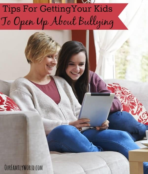 These tips for getting your kids to open up about bullying will help you reach your kids & create an environment where they feel they can reach out to you.