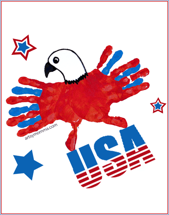 All-American-Eagle-Handprint-Craft Labor Day Crafts for Kids