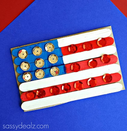 popsicle-stick-american-flag-craft Labor Day Crafts for Kids
