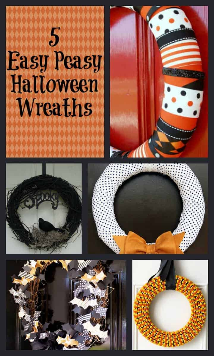 Looking for easy Halloween wreaths to liven up your front door for the fall season? Check out these 5 easy tutorials that are simple enough for all levels of crafting skill!