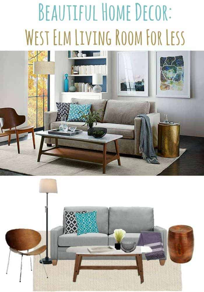 Refresh your living room home decor with a modern West Elm look. We have taken high-end home decor ideas and made them budget friendly!