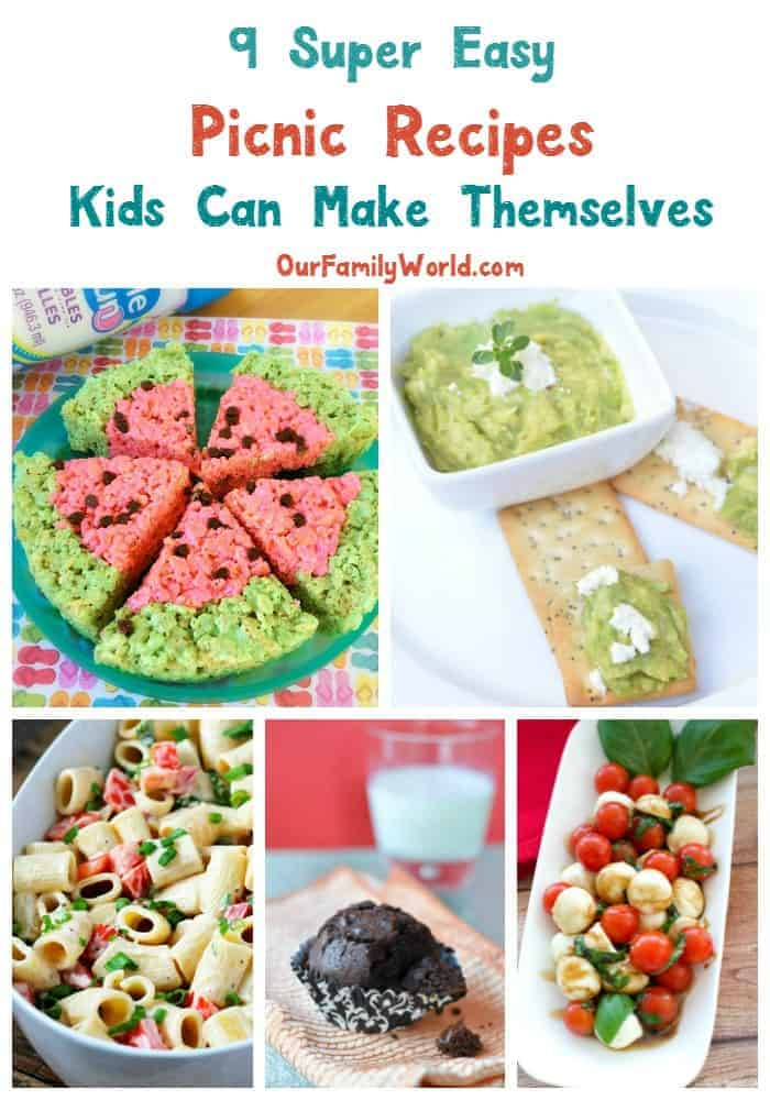 It's picnic season, and I love making easy picnic recipes kids can make too. While I could throw a couple of sandwiches in a basket, it's more fun if I let my the little help me prep. I know it can get a little messier but here's the secret, shhh... Keep the recipes simple and you'll keep your cool and still have fun! Check out these delicious and easy picnic recipes kids can make in the kitchen right there with you.