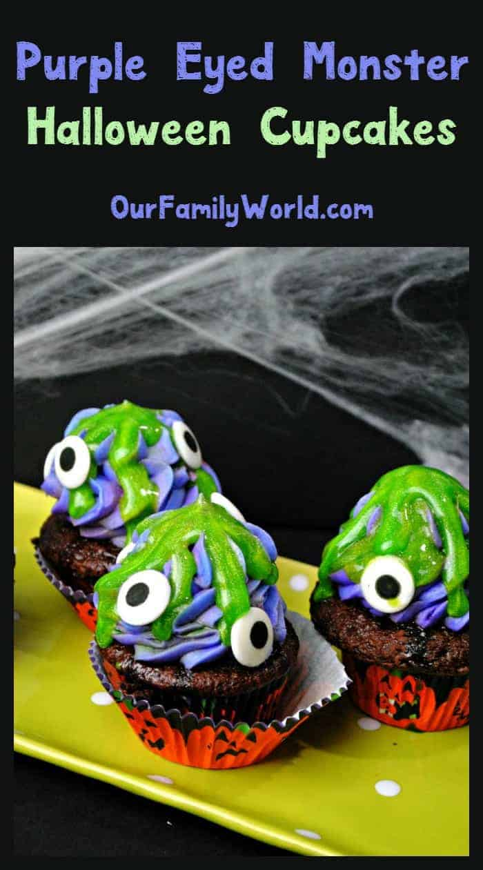 Need a fun Halloween food ideas for a party? These purple eyed monster cupcakes are easy & cute! Check them out & grab the recipe!