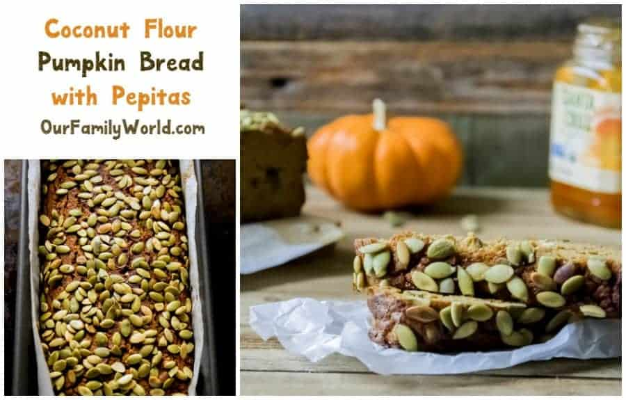 Gluten free, low carb coconut flour pumpkin bread with pepita is a delicious fall inspired breakfast option for kids and grown-ups alike.