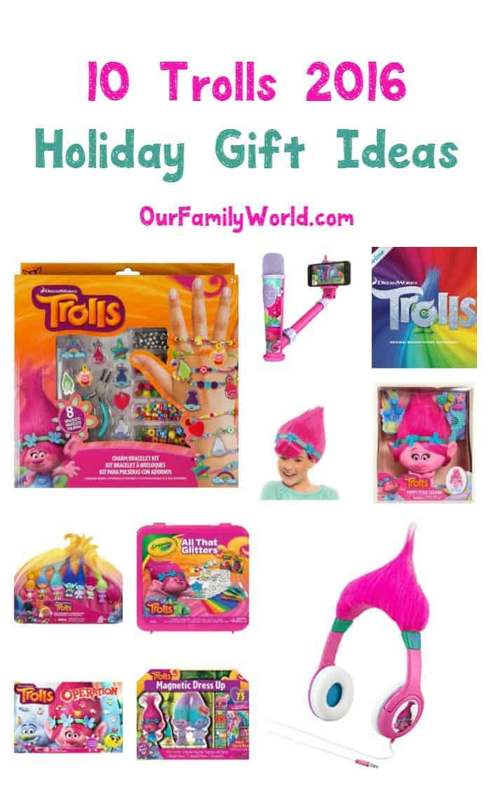 Looking for great Christmas gift ideas for kids? These Trolls toys, games and more from the 2016 film are sure to be a hit this holiday season!