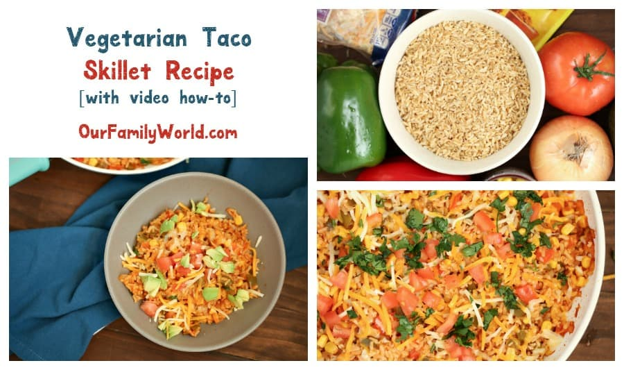 Looking for an easy healthy vegetarian dinner recipe for a busy weeknight? We put a meatless spin on a classic with our taco skillet recipe!