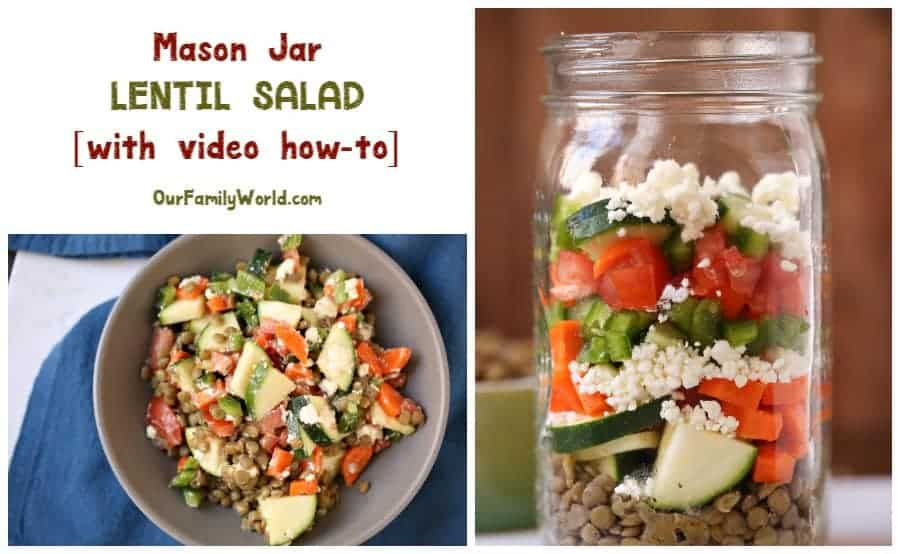 This is the mason jar lentil salad recipe you've been craving! Watch the video to see how easy it is to make! Check it out now!
