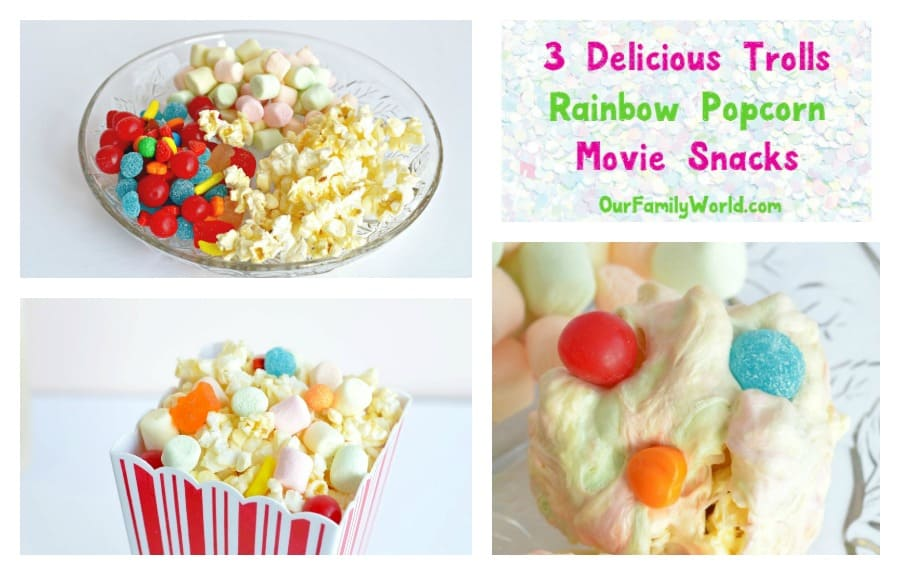 Are you as excited about the DreamWorks Trolls DVD release as we are? Make your movie night special with 3 delicious & easy Trolls rainbow popcorn snacks!
