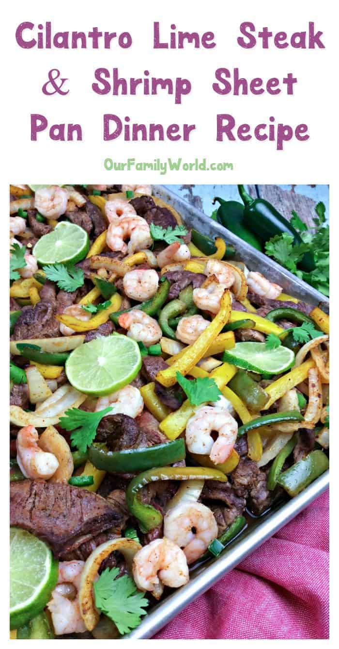 In the mood for a little surf and turf tonight? Try this delicious cilantro lime steak and shrimp recipe! The flavors are spot on, and since it's made on a sheet pan, cleanup is a breeze.