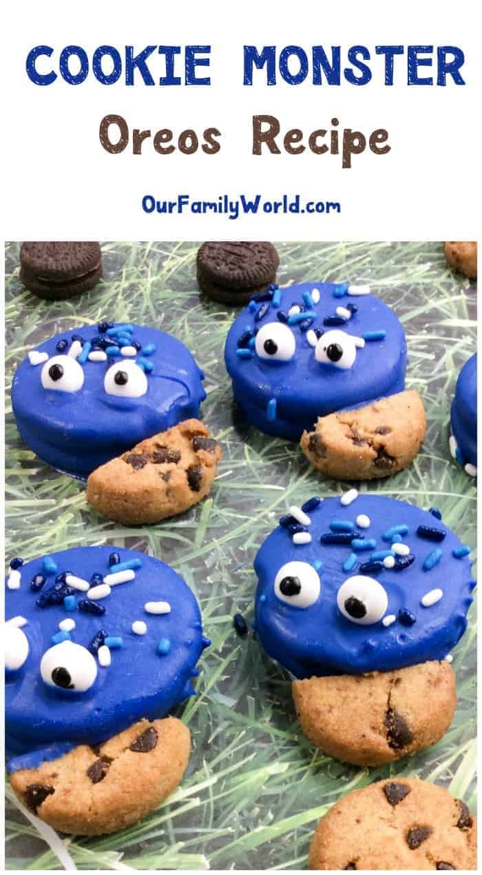 Throwing a Sesame Street party? Wow your little guests with these easy and adorable Cookie Monster Oreo cookies! Grab the recipe!