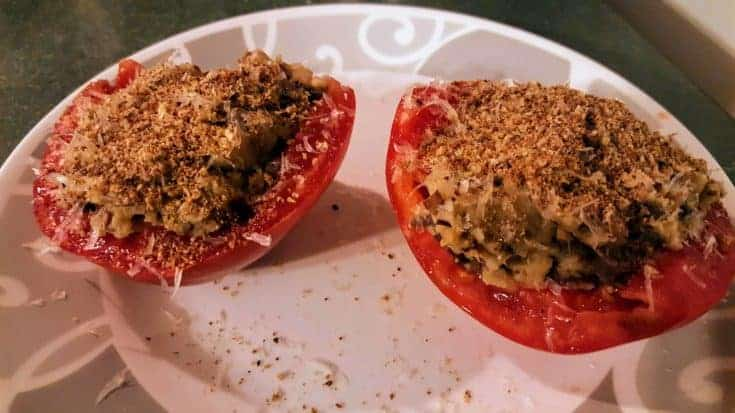 Tomatoes Stuffed With Pureed Eggplant and Parmesan Cheese