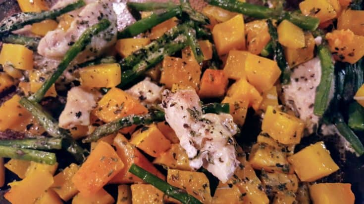 Baked Chicken, Asparagus, and Butternut Squash with Parmesan Cheese and Italian Herbs