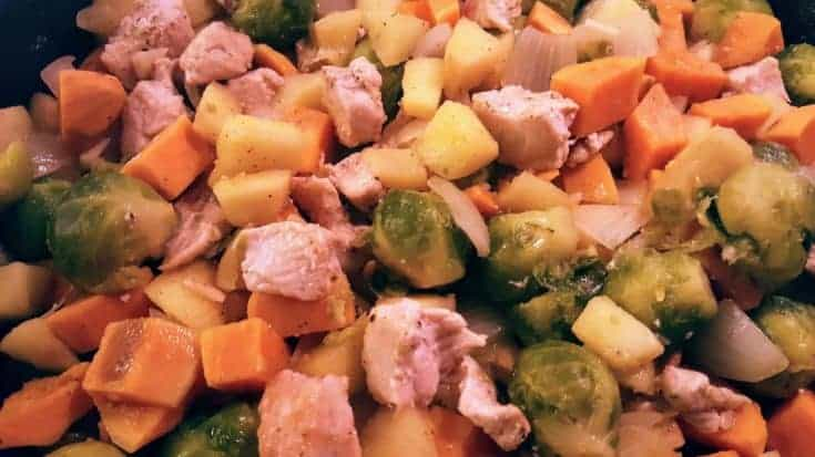 Chicken, Apple, Sweet Potato, and Brussel Sprout Hash