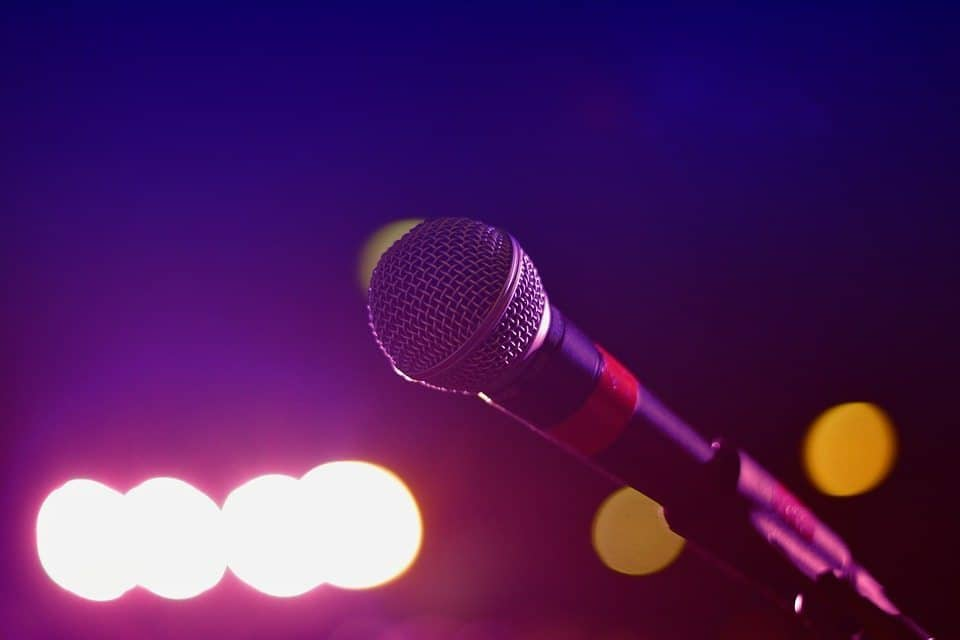 microphone, mic, stage, lights