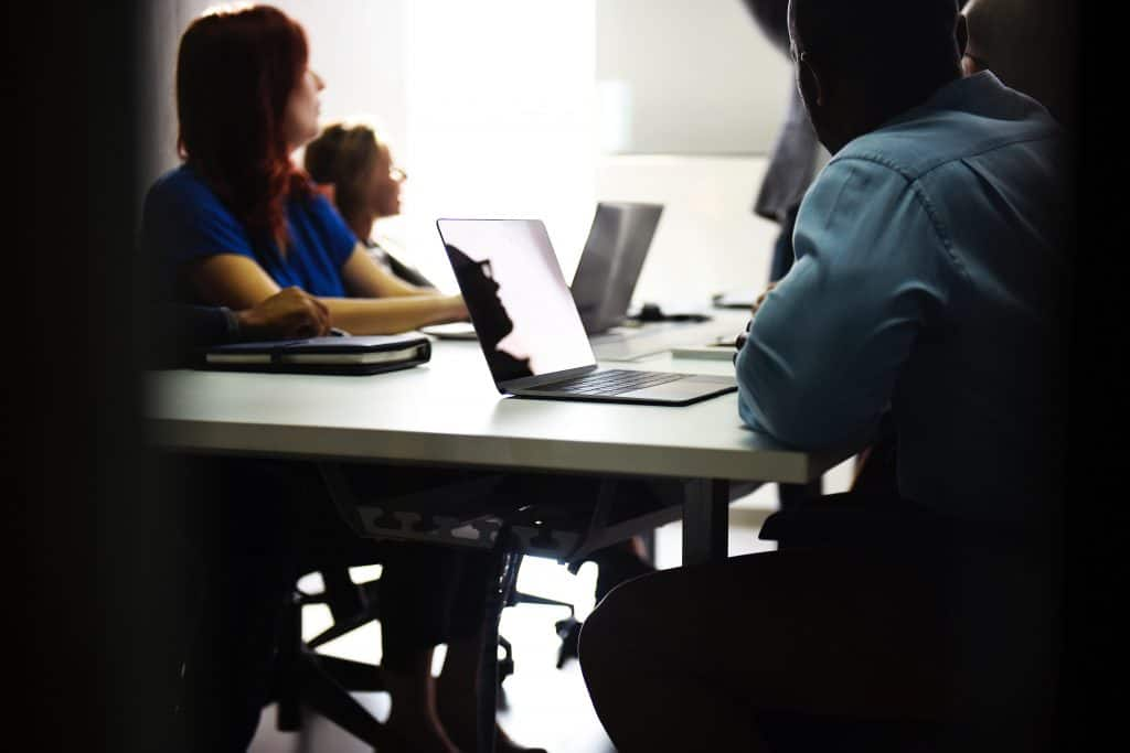 meeting, computer, desk