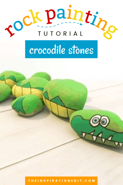 crocodile painted rock stones