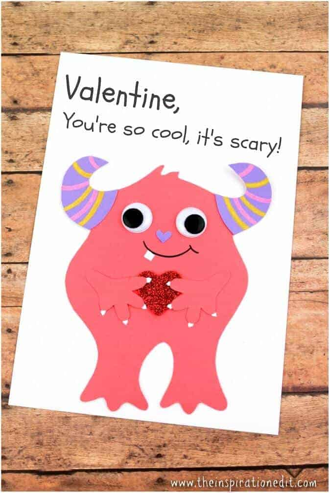 Pink Monster Valentines Card