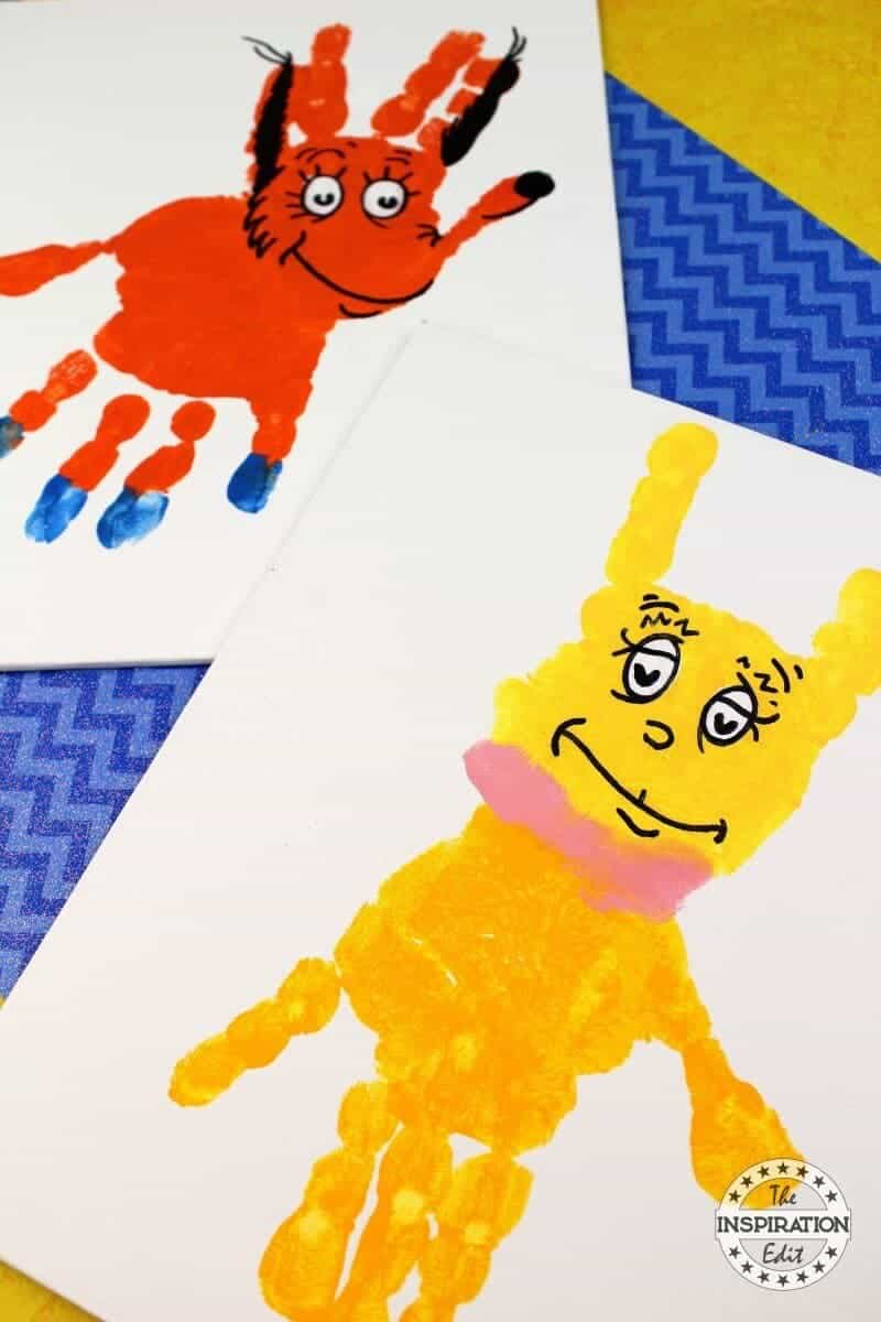 Dr Seuss Crafts fox in socks handprint canvas