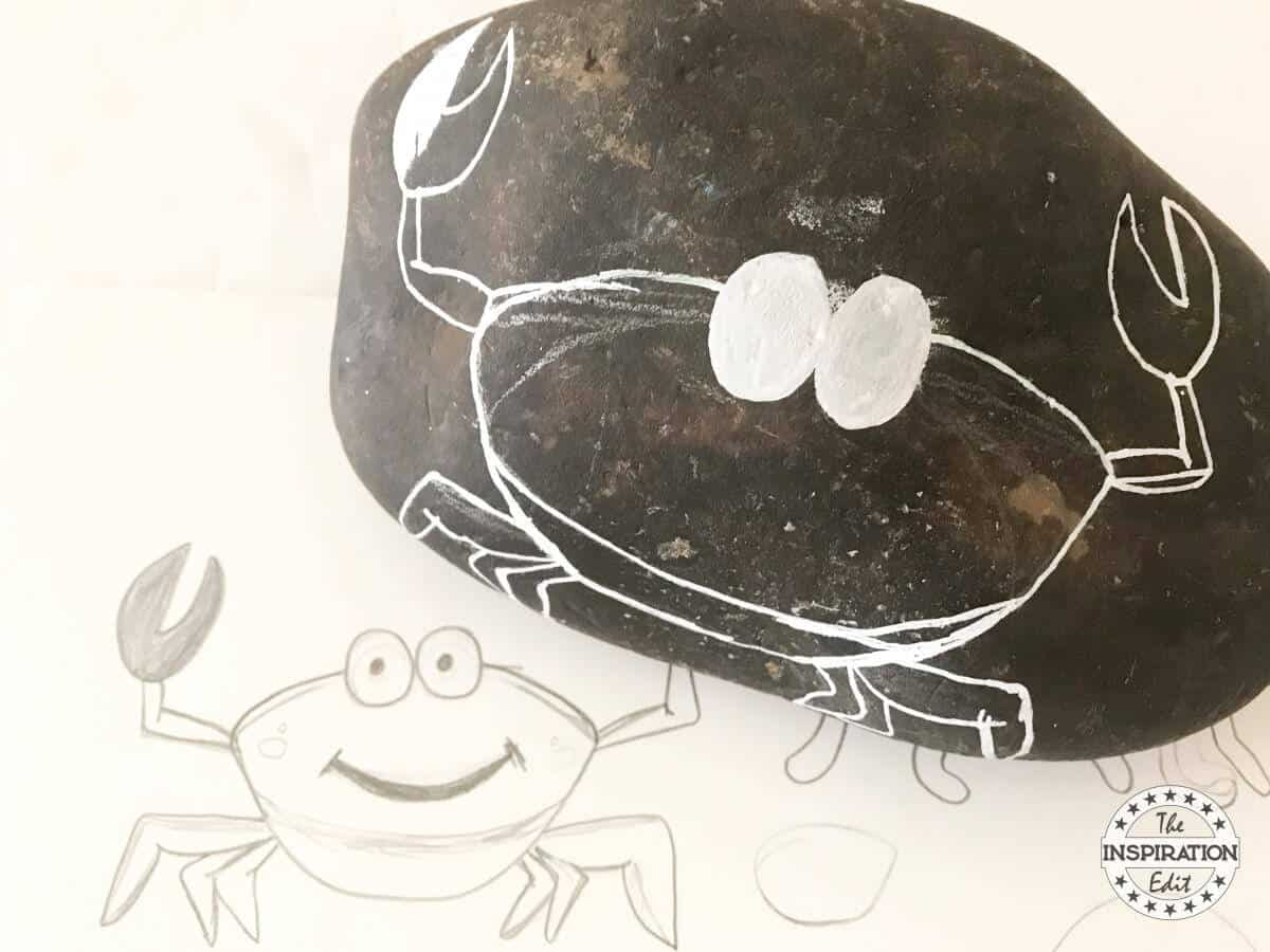 Crab on a rock craft rock painting