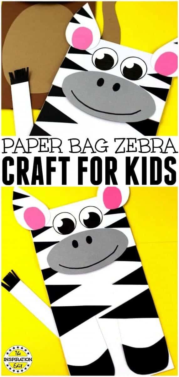 DIY paper bag zebra puppet