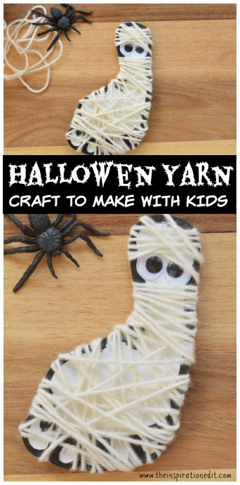 Yarn wrapped mummy one of the fun Halloween art projects on the inspiration edit.