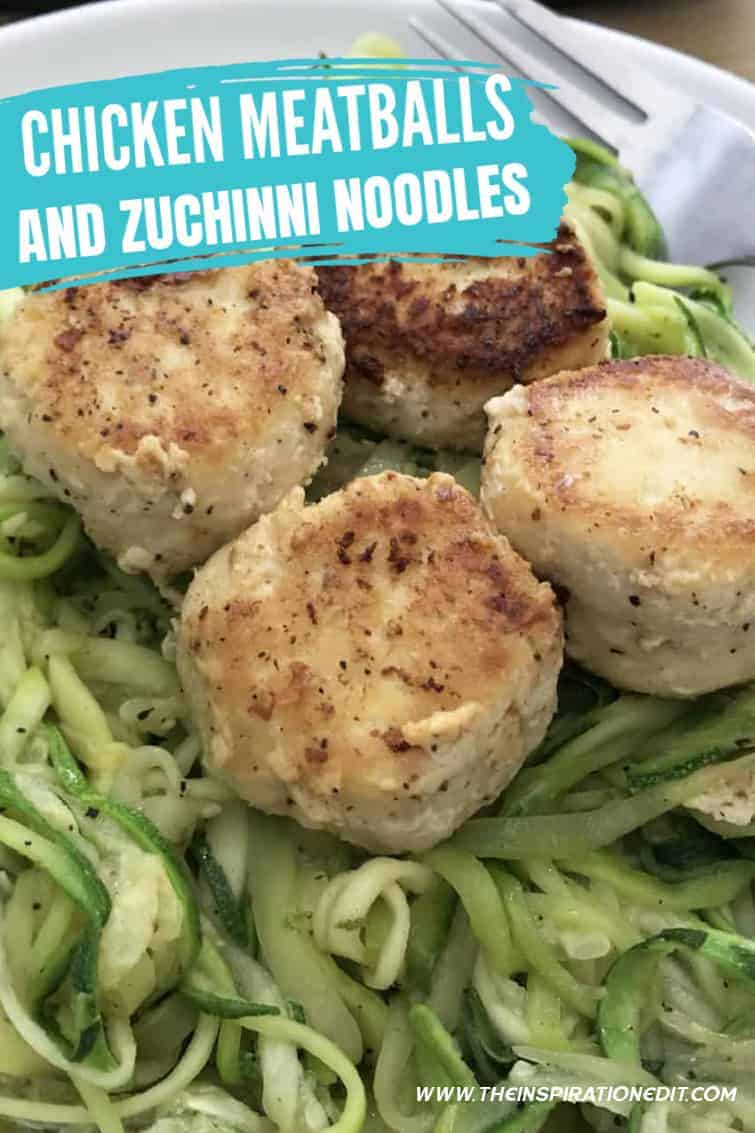 chicken meatballs and zucchini noodles