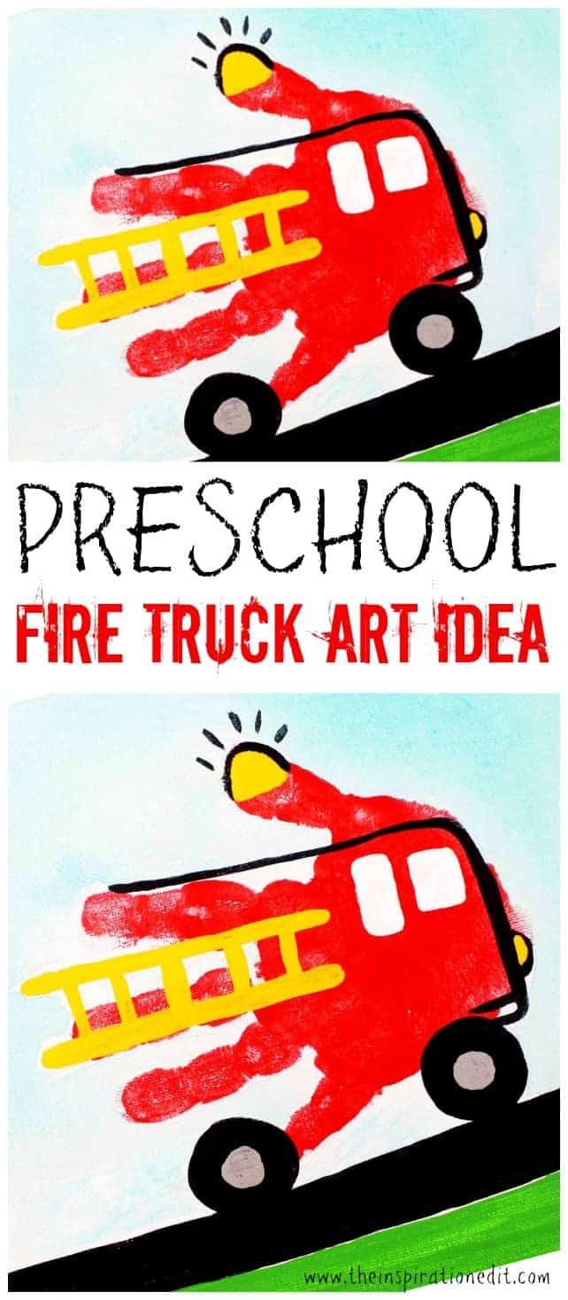 preschool fire truck art idea