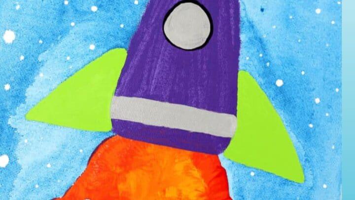 space rocket handprint art