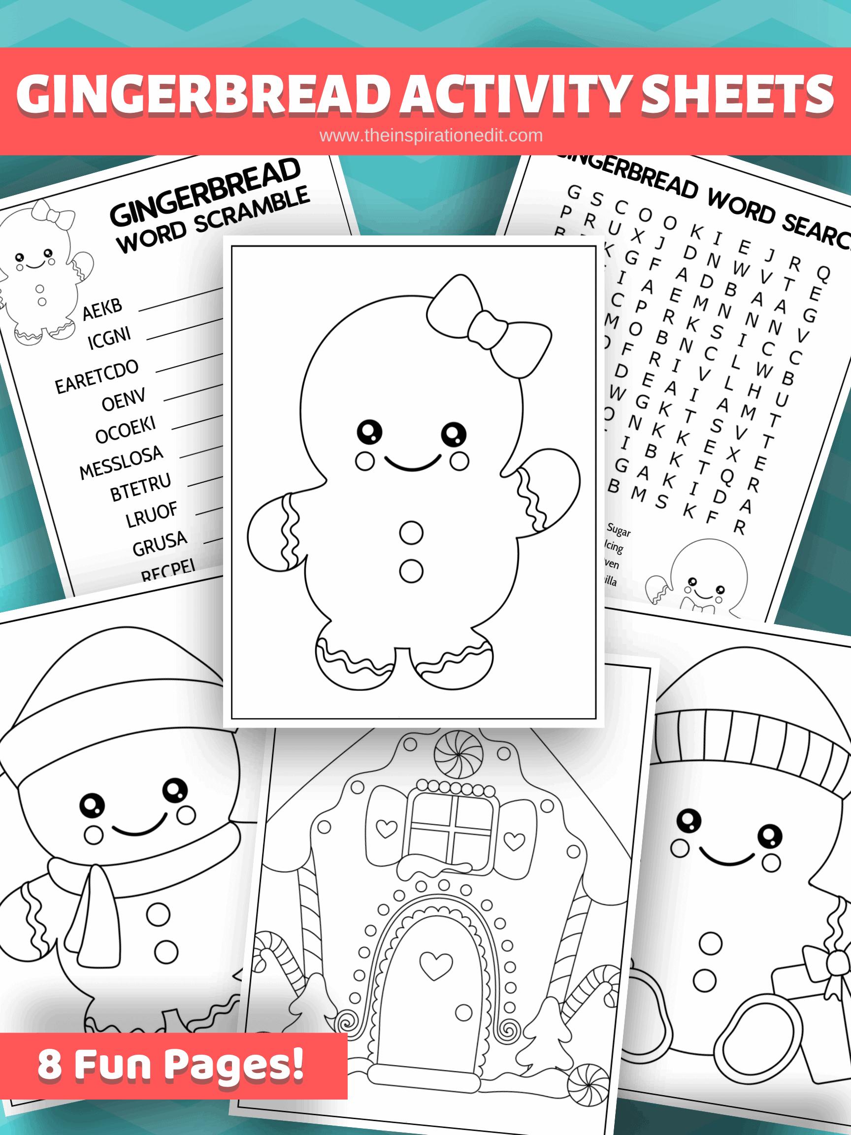 gingerbread man activity sheets