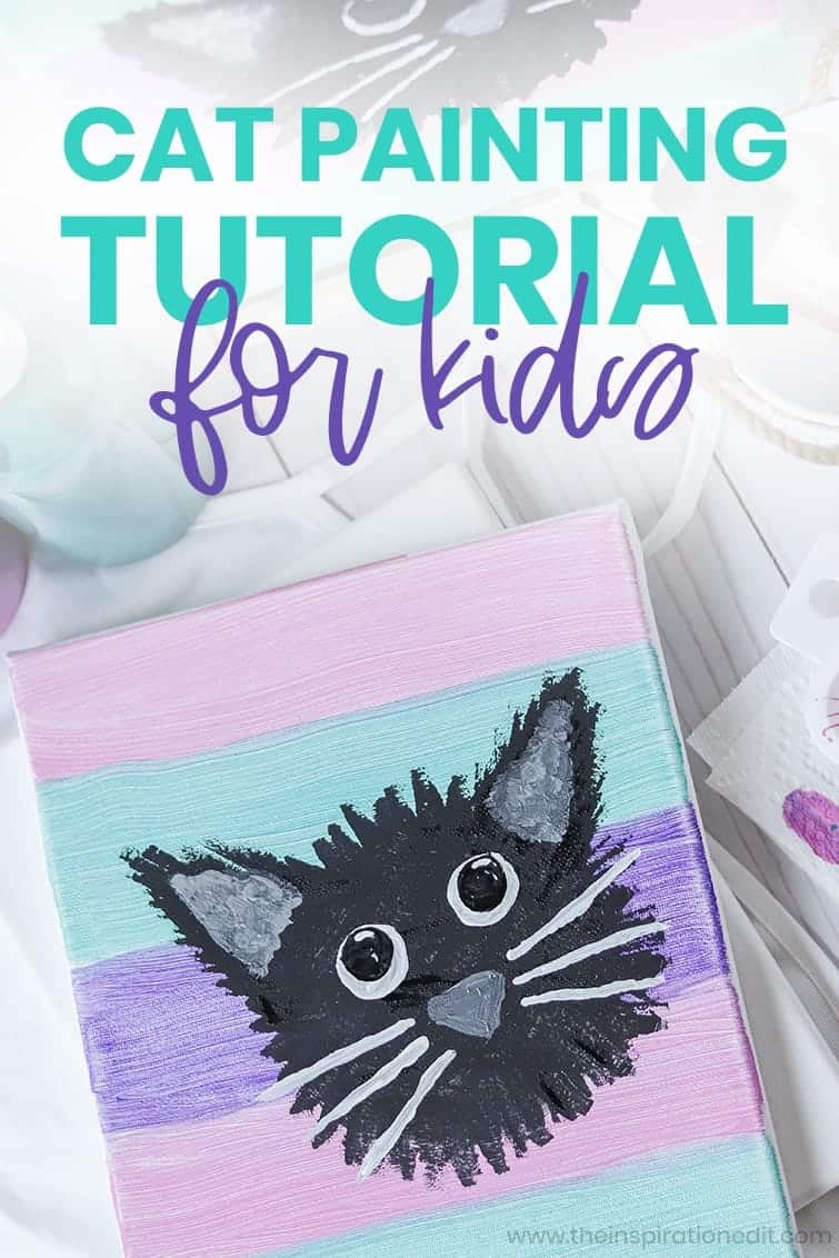 cat painting activity for cat themed birthday party